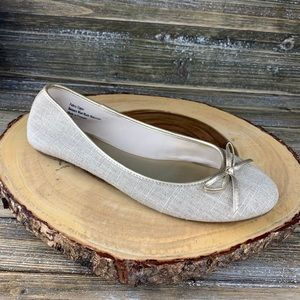 Coach and Four Gold Cream Ivory Ballerina Flat